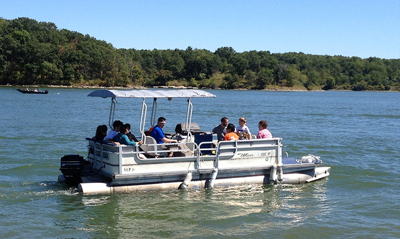 Pontoon boat at Thousand Hills State Park - Forest Lake